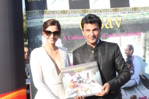 Chef Vikas Khanna with actress Sonam Kapoor in Cannes at the launch of his latest culinary journey 'Utsav'