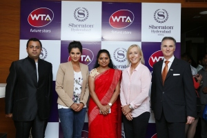 L to R- Punit Sheth (General Manager, Sheraton Hyderabad Hotel), Sania Mirza (Wimbledon Doubles champion, 2015), Kalvakuntla Kavitha (Member of Parliament), Martina Navratilova (Tennis champion) at the launch of the property