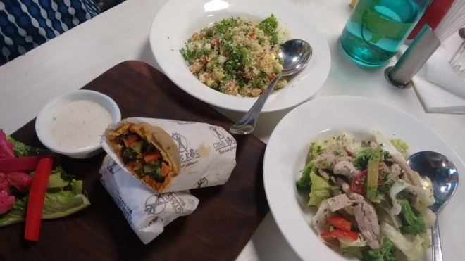 Veggie Wrap, Cous Cous Sald and Cobb Salad